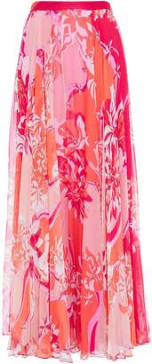 Emilio Pucci Gathered Printed Silk-chiffon Maxi Skirt