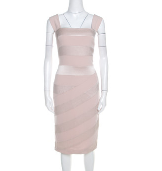 Escada Blush Pink Crepe Paneled Diantima Pencil Dress M