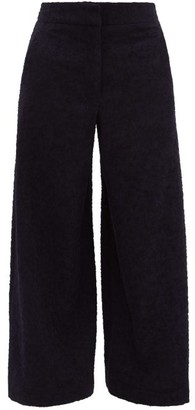 Raey Elasticated-back Wide-leg Textured Trousers - Womens - Navy