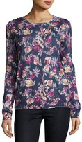 Neiman Marcus Superfine Floral-Print Cashmere Cardigan