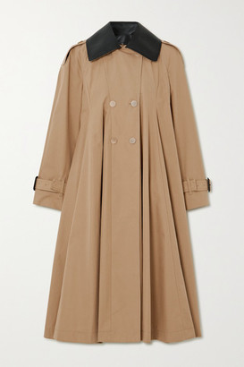 Loewe Leather-trimmed Pleated Cotton-canvas Trench Coat - Beige
