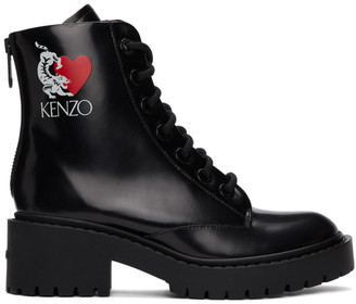 Kenzo Black Limited Edition Valentines Day Boots