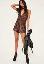 Missguided Brown Metallic Pleat Wrap Playsuit