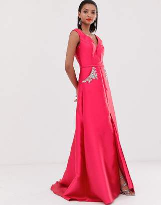 Jovani fishtail maxi dress with embellished waist detail-Pink