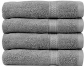 Ringspun Cotton Large Hand Towels (Grey, 4-Pack,16 x 28 inches) - Multipurpose Use for Bath, Hand, Face, Gym and Spa - By Utopia Towels
