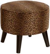 Skyline Furniture Mfg. Round Ottoman with Splayed Legs, Cheetah Earth