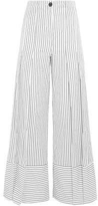 Tome Pleated Striped Cotton-poplin Wide-leg Pants