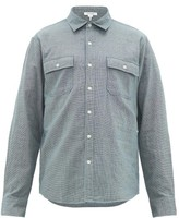 Frame Houndstooth-check Cotton-poplin Shirt - Mens - Blue Multi