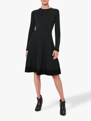 Hobbs Sarah Fit and Flare Knitted Dress, Pine Green
