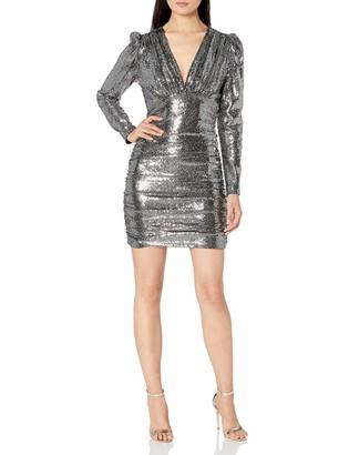 BCBGMAXAZRIA Women's Ruched Metallic Mini Dress