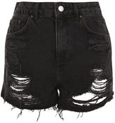 Topshop PETITE Longline Ripped Mom Denim Shorts