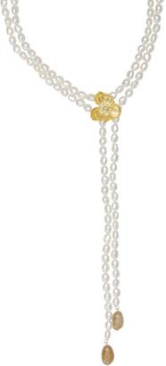 Michael Aram 18k Orchid Pearl Lariat w/ Diamonds