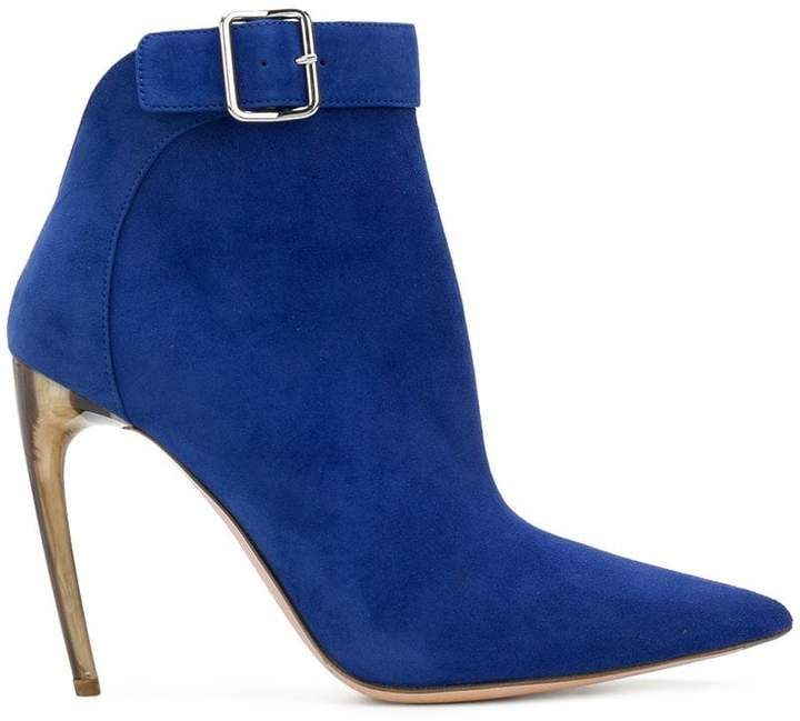 Alexander McQueen single buckle ankle boots
