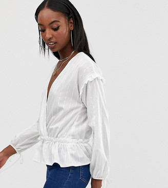 Outrageous Fortune Tall wrap front ruched blouse in white