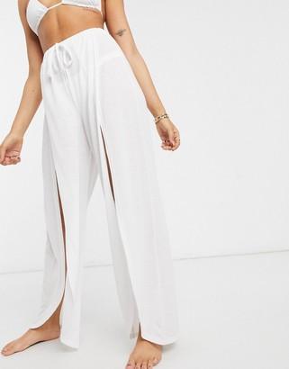 Asos DESIGN jersey split front beach pant in white
