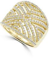 Effy 14K Yellow Gold and 0.82 TCW Diamond Chevron Cutout Ring