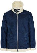 Topman Washed Blue Denim Exaggerated Collar Flight Jacket