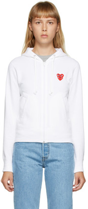Comme des Garcons White Layered Heart Zip-Up Hoodie