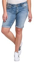 Silver Jeans Women's Plus Size Suki Perfectly Curvy-Fit Mid Rise Bermuda Light Wash Short