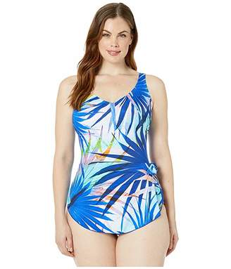 Maxine Of Hollywood Swimwear Palm Party Wide Strap Sarong Swimdress