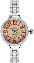 Glam Rock Women's Miami Beach Art Deco 36mm Steel Bracelet & Case Quartz Beige Dial Analog Watch MBD27173N