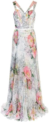 Marchesa Notte Pleated Floral Dress