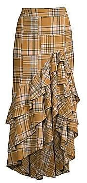 PatBO Women's Plaid Ruffled Midi Skirt - Size 0