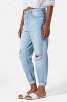 Topshop Moto 'Hayden' Frayed Boyfriend Jeans (Bleach Stone)