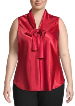 Kasper Plus Size Satin Bow-Neck Blouse