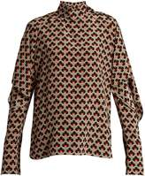 Marni Portrait-print ruffled-sleeve silk blouse