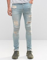 Asos Super Skinny Jeans With Rips In Biker Style Light Wash