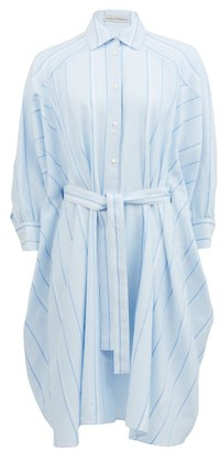 Palmer Harding Palmer//harding - Poet Striped Cotton-blend Shirt Dress - Womens - Light Blue
