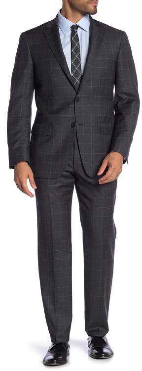 Hart Schaffner Marx Check Print Worsted Wool Suit
