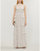 Shimmer ditsy tulle maxi gown