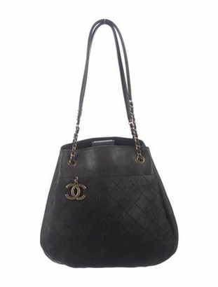 Chanel Accordion Shopping Tote Black