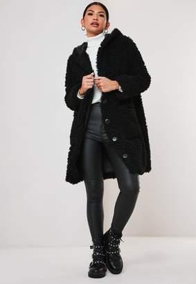 Missguided Black Hooded Borg Teddy Coat