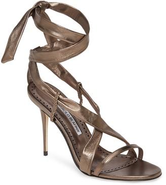 Manolo Blahnik Tor Metallic Ankle Wrap Sandal