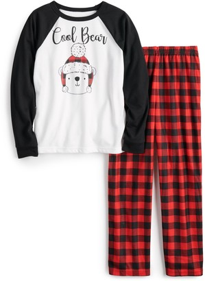 Cuddl Duds Boys 4-20 Jammies For Your Families Cool Bear Top & Plaid Pants Pajama Set
