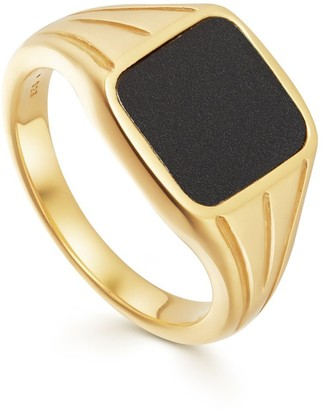 Missoma Lucy Williams Gold Square Black Signet Ring