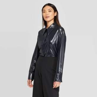 Prologue Women's Exaggerated Long Sleeve Collared Button-Up Shirt - PrologueTM Black