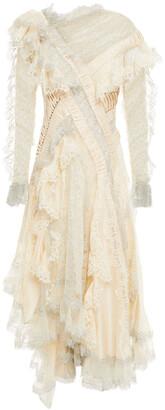 Zimmermann Asymmetric Ruffled Flocked Tulle, Lace And Point D'espirit Dress