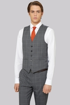 Moss Bros Skinny Fit Grey Check Waistcoat
