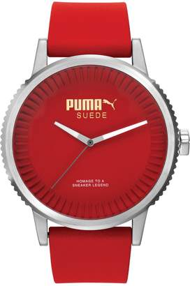 Puma Time Suede Men's Quartz Watch with Red Dial Analogue Display and Red Silicone Bracelet