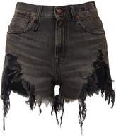 R 13 Distressed Denim Shorts - Black