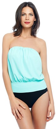 Eco Swim by Aqua Green Women's Key Color Essentials Solid Fitted Gathered Blouson Tankini