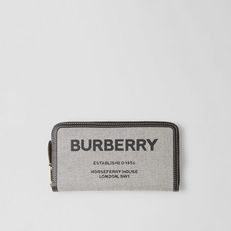 Burberry Horseferry Print Canvas and Leather Ziparound Wallet
