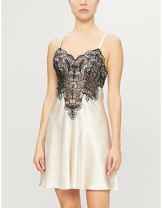 Selfridges Nicole lace-panelled satin-silk chemise