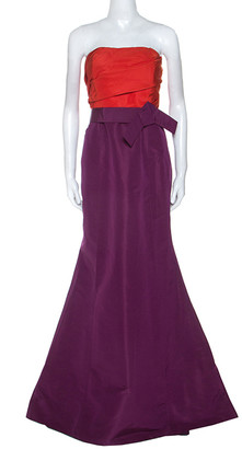 Carolina Herrera Red and Purple Color-block Silk Strapless Gown L