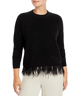C by Bloomingdale's Ostrich Feather Trim Cashmere Sweater - 100% Exclusive