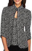 Alex Evenings Petite Printed Mandarin Collar Twinset